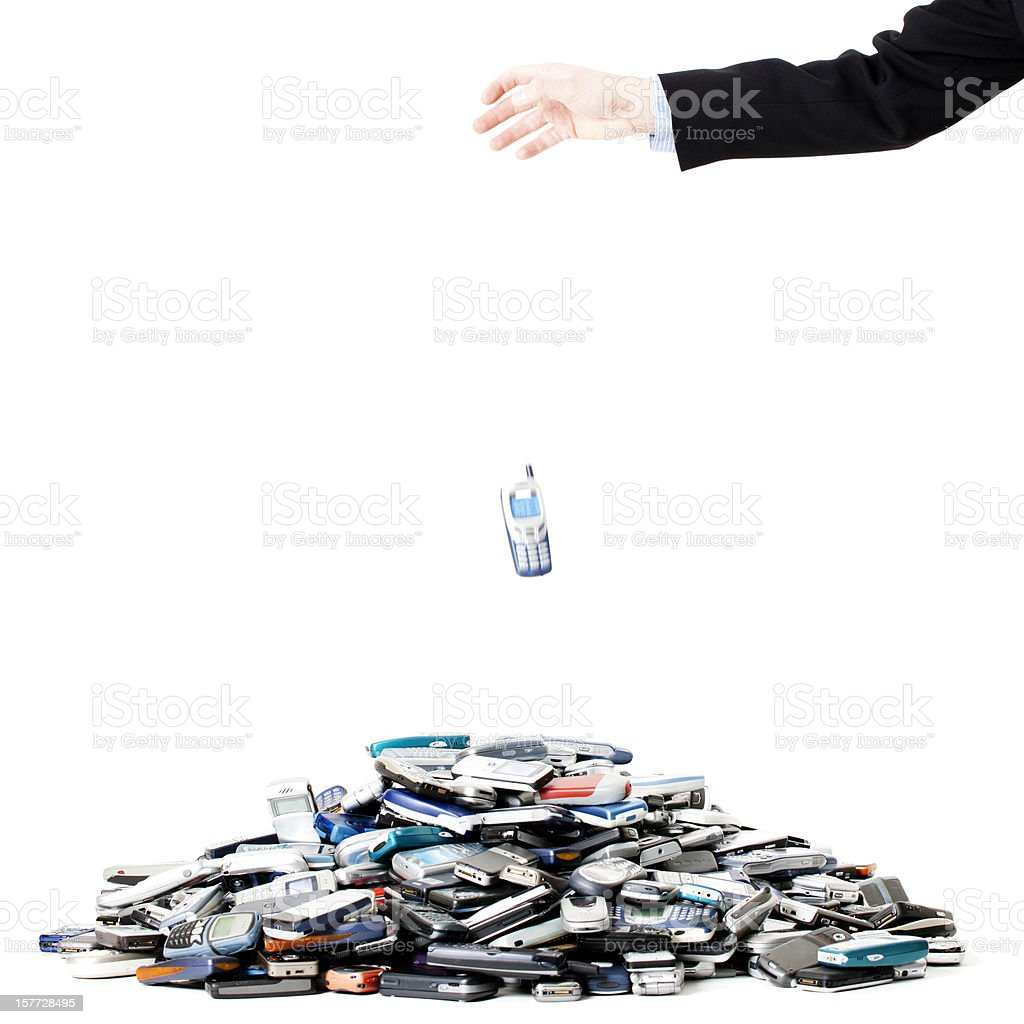 Cell phone recycling stock photo