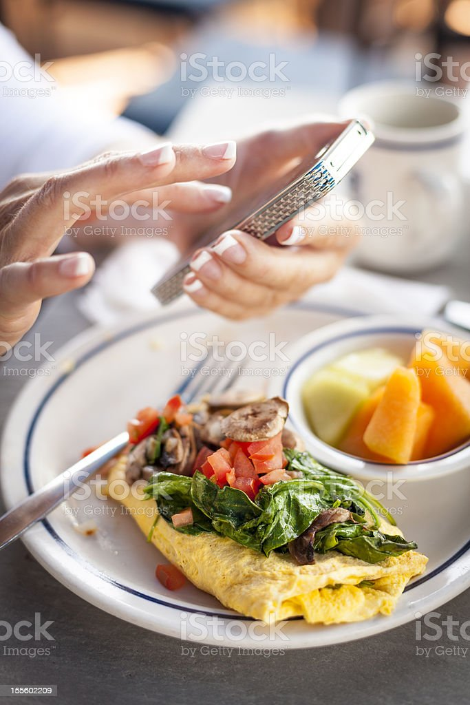 Cell phone with Breakfast stock photo