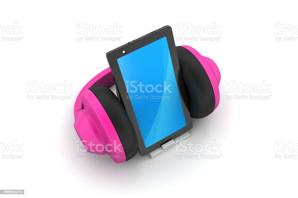 cell phone with headphones stock photo