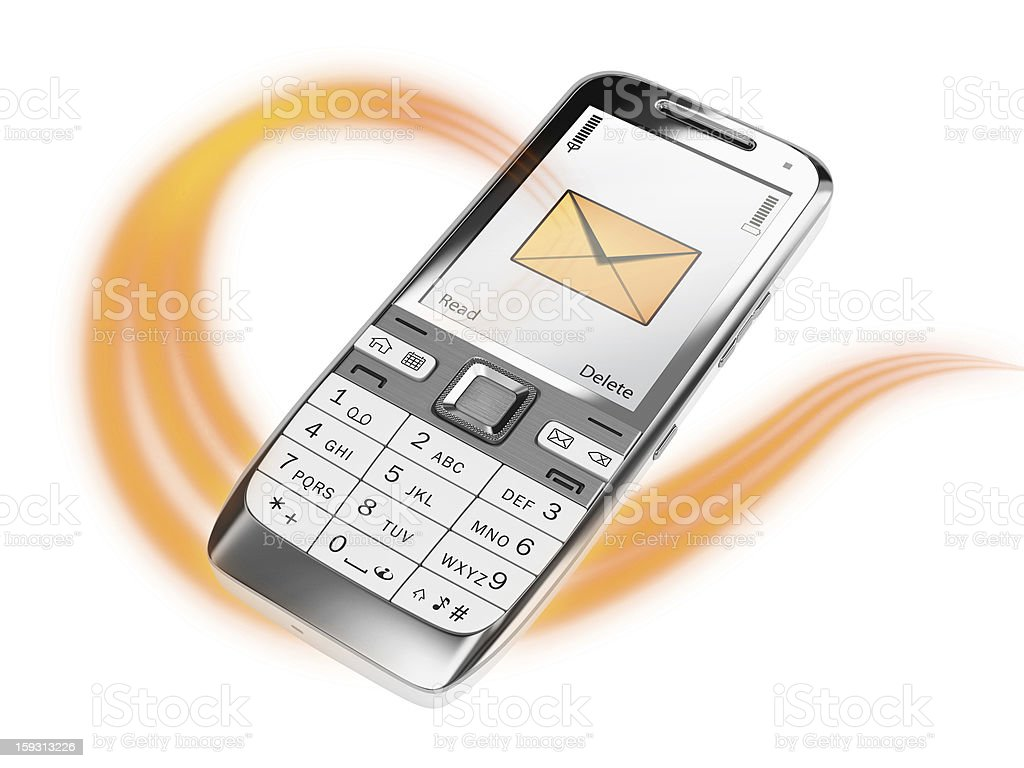 Cell phone with message stock photo