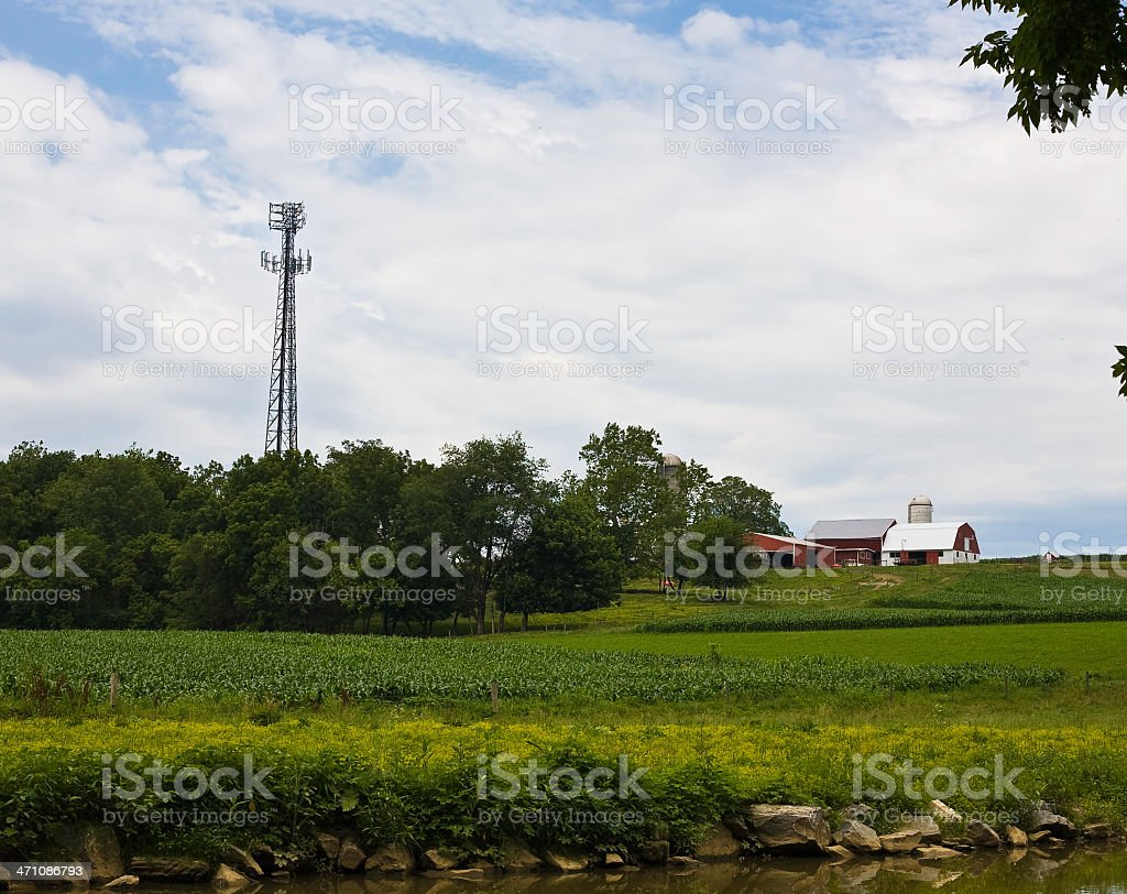 Cell Tower Farm stock photo