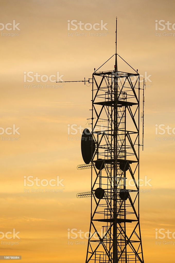Cell tower on sunrise royalty-free stock photo