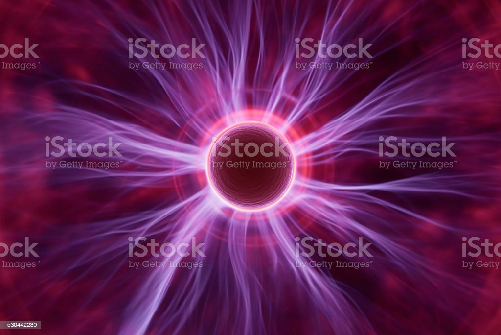 Cell with energy rays stock photo