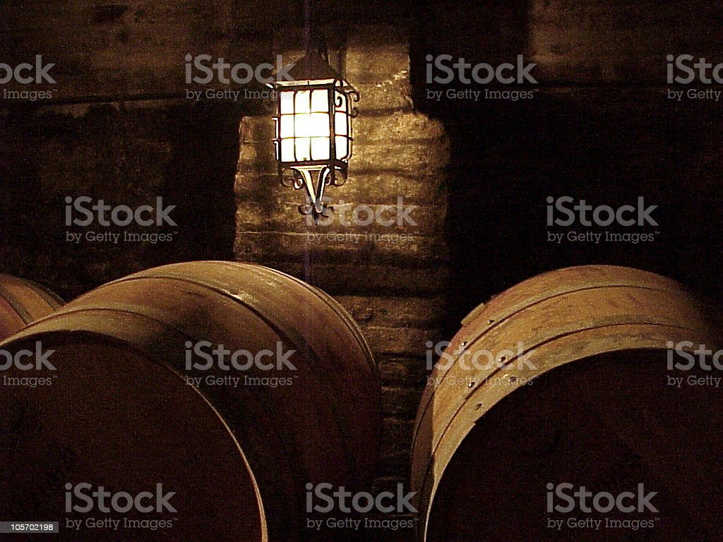 Cellar Ambiance (barrels, lamp) royalty-free stock photo