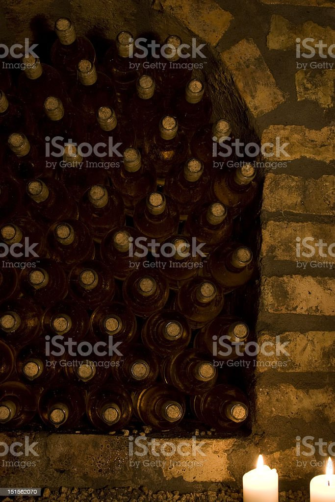 Cellar detail with candlelight royalty-free stock photo