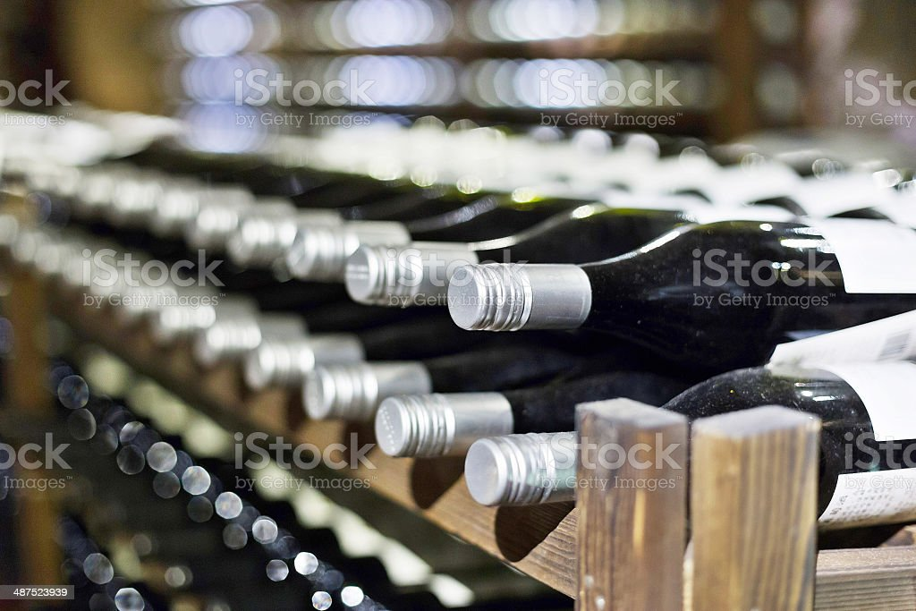 cellar full of wine bottles royalty-free stock photo
