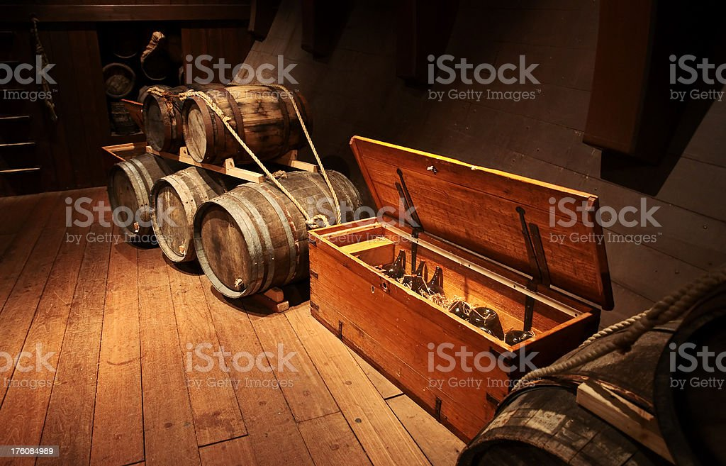 Cellar with barrels royalty-free stock photo