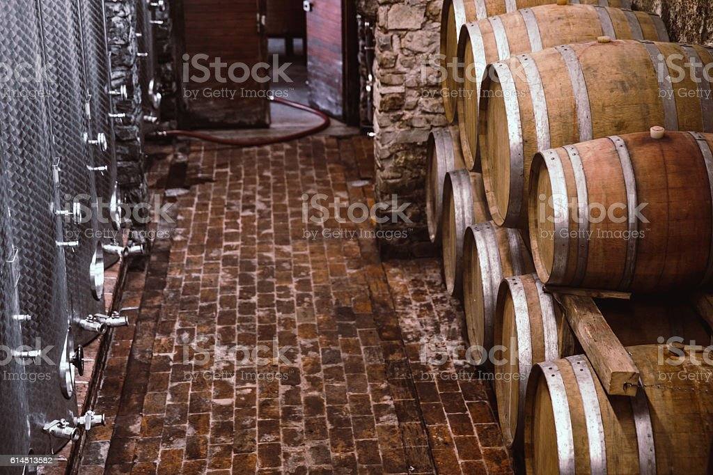 Cellar with Modern and Traditional Wooden Barrels stock photo