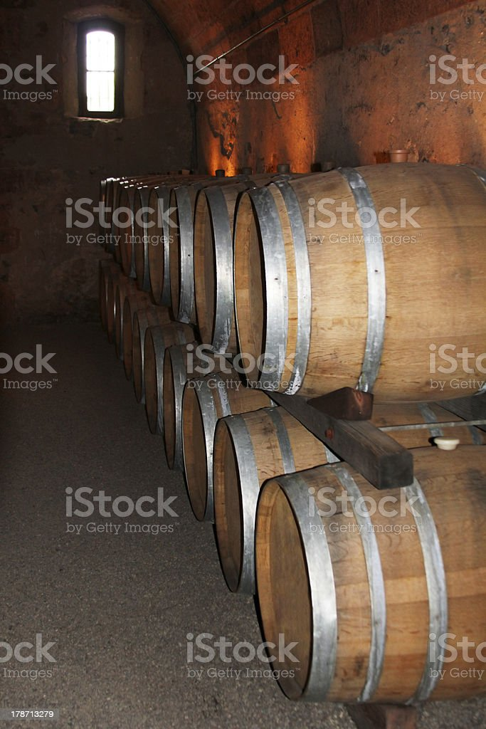 Cellar with wine flanks royalty-free stock photo