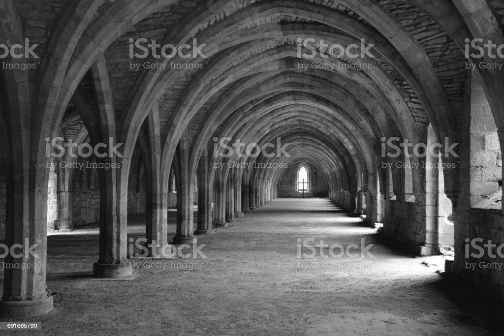Cellarium, Fountains Abbey stock photo