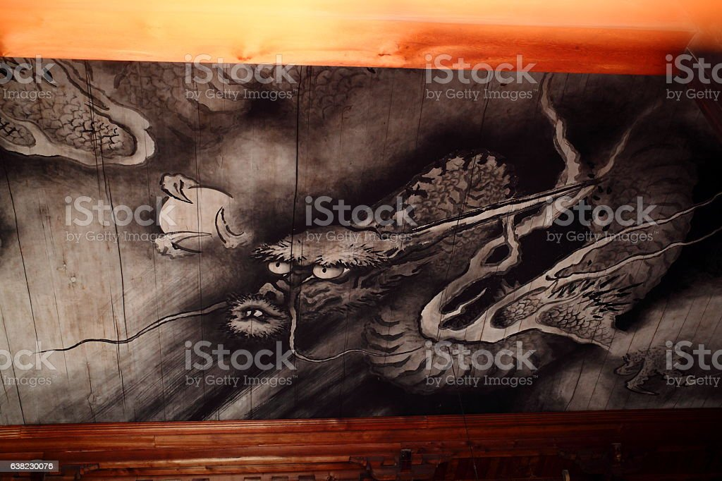 Celling of temple building painting of dragon and clouds, Tofuku-ji stock photo