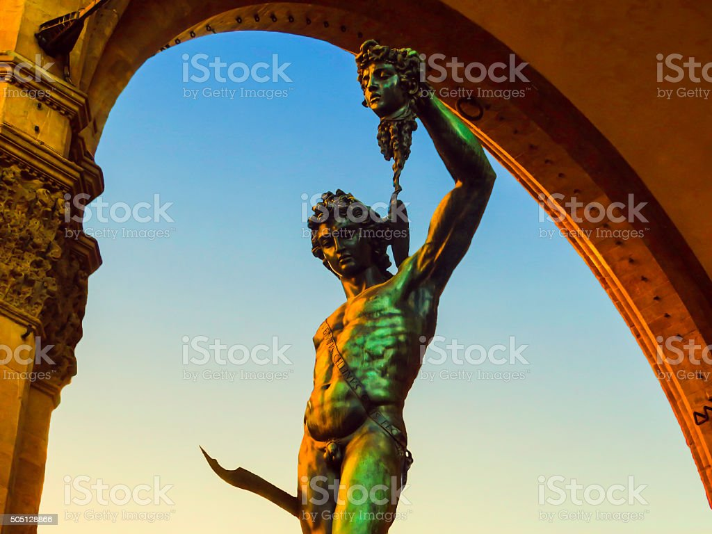 Cellini's Perseus With Head of Medusa Statue Florence, Italy stock photo