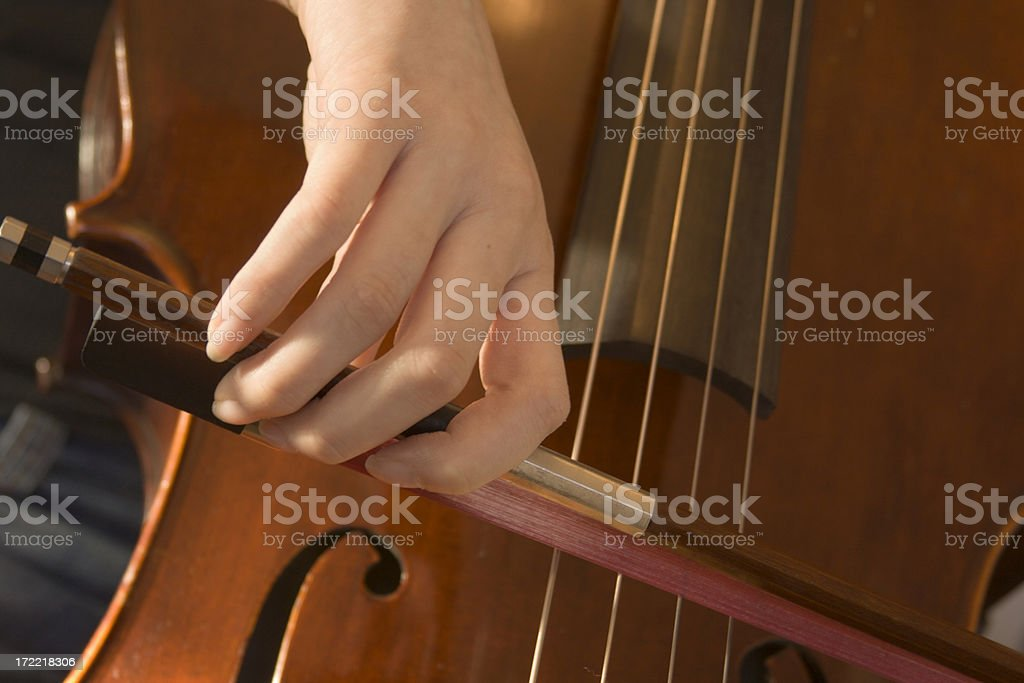 Cellist Holding Cello Bow, Playing Musical Instrument in Classical Concert royalty-free stock photo