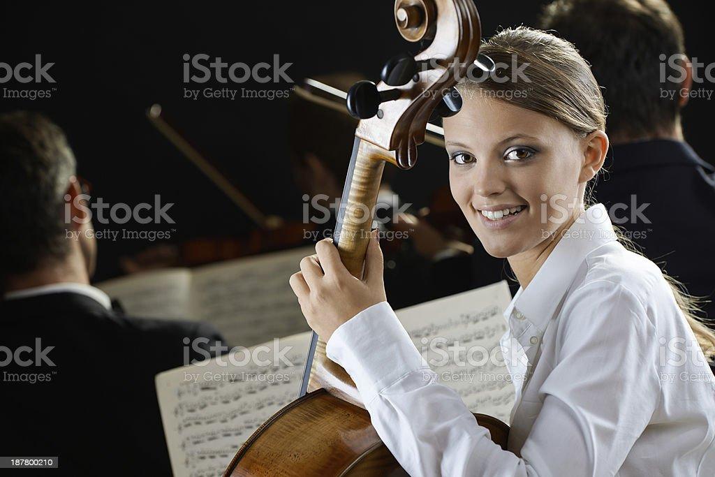 Cellist in concert stock photo