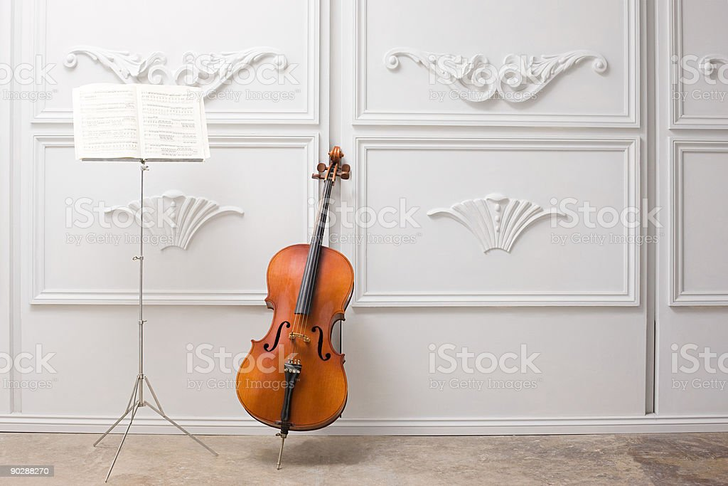 Cello and music stand stock photo