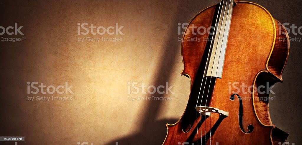 Cello background with copy space for music concept stock photo
