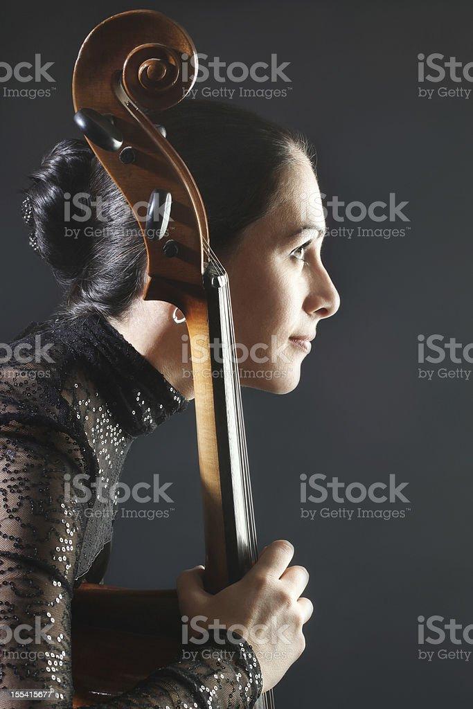 Cello classical cellist profile. stock photo