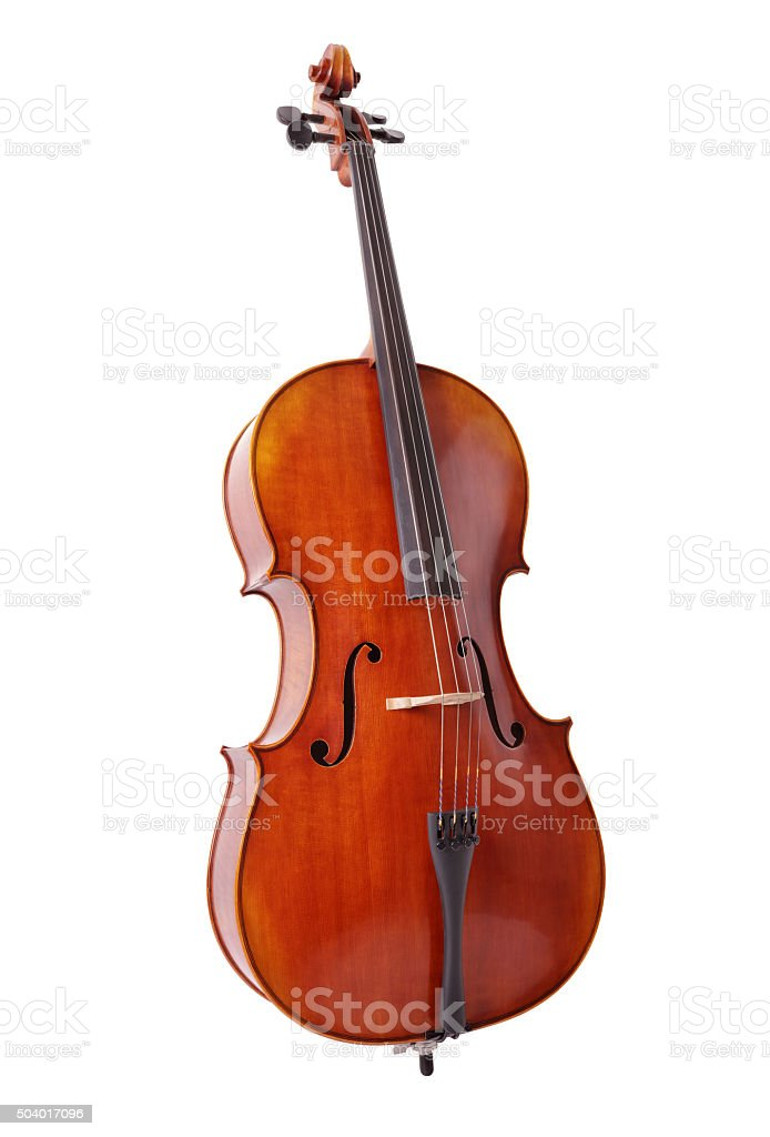 Cello isolated on white background stock photo