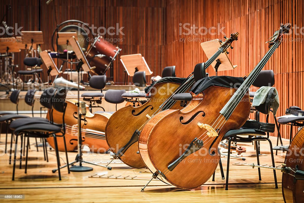 Cello Music instruments on a stage stock photo