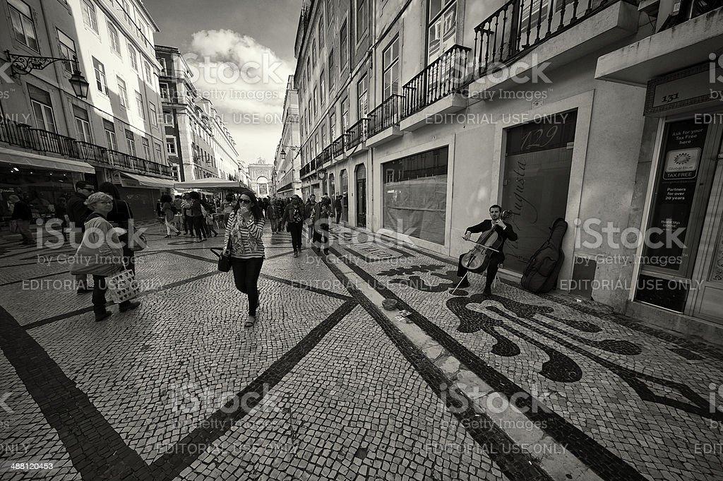 Cello Musician in Lisbon royalty-free stock photo