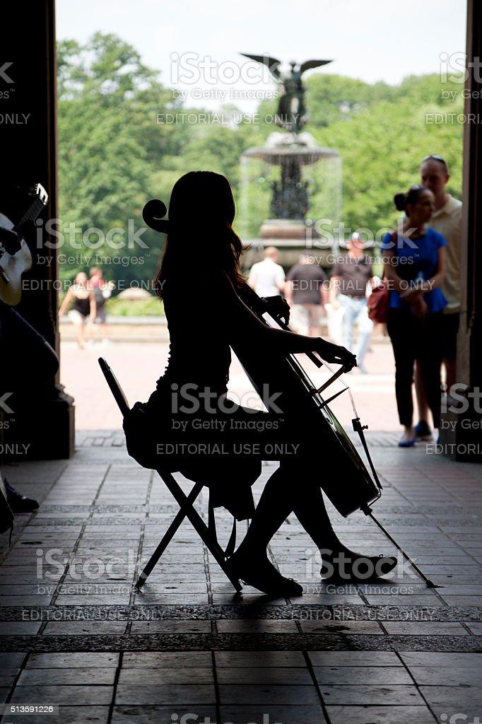 Cello player stock photo