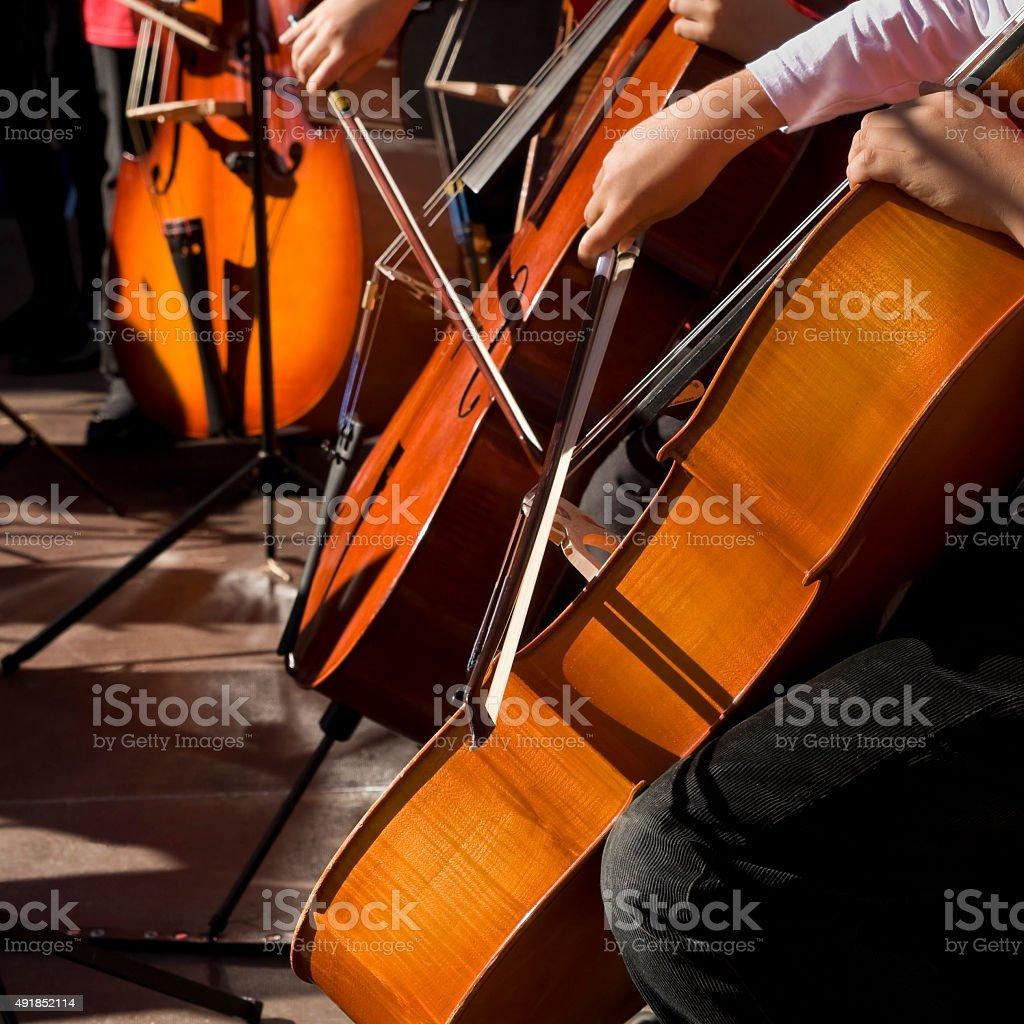Cello players stock photo
