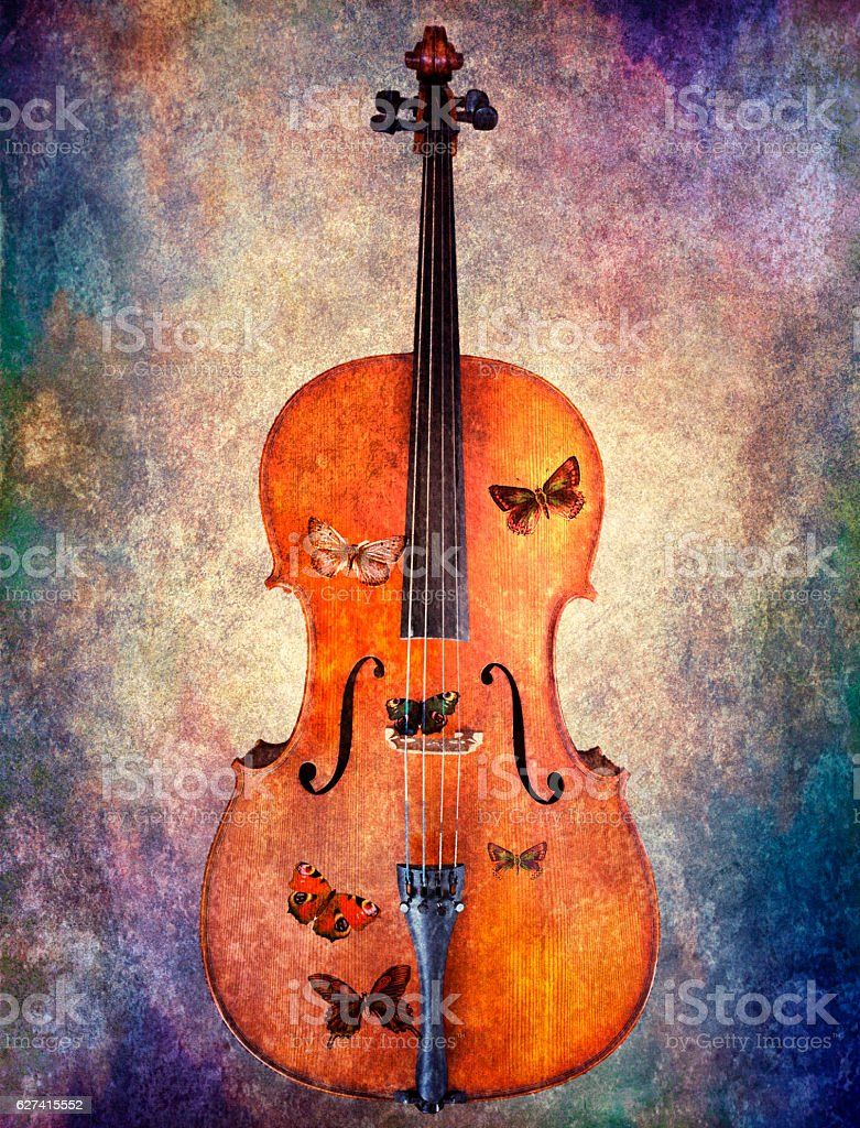 Cello with butterflies stock photo