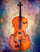 Cello with butterflies