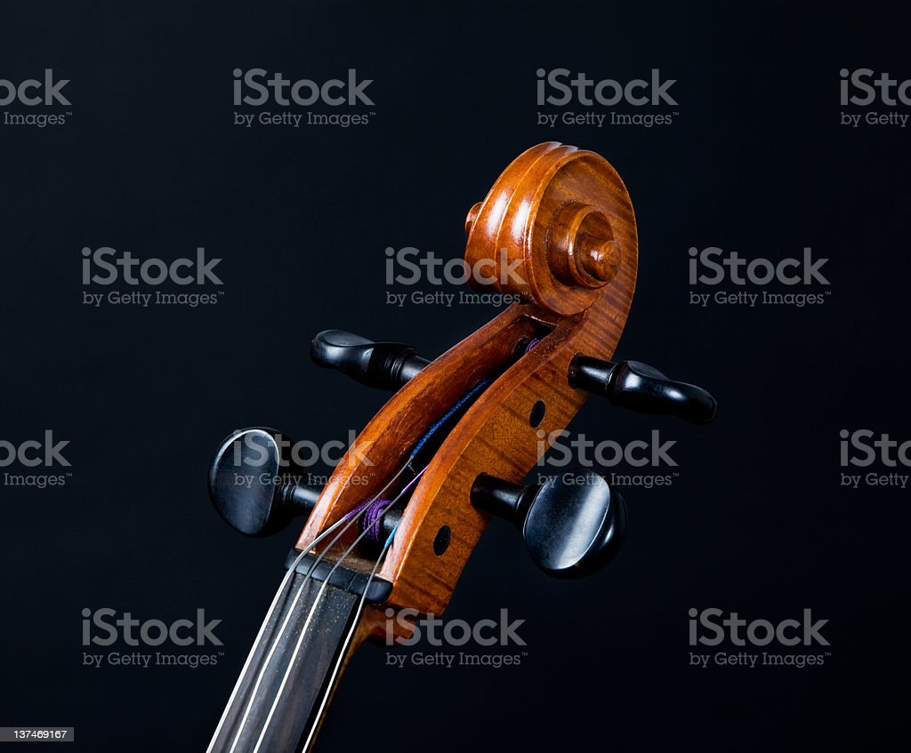 Cello's scroll on black background royalty-free stock photo