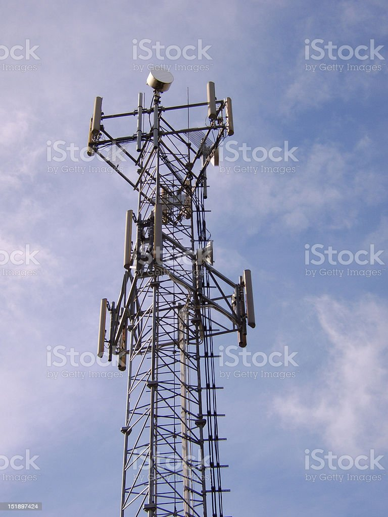 Cellphone Base Station on Tower stock photo