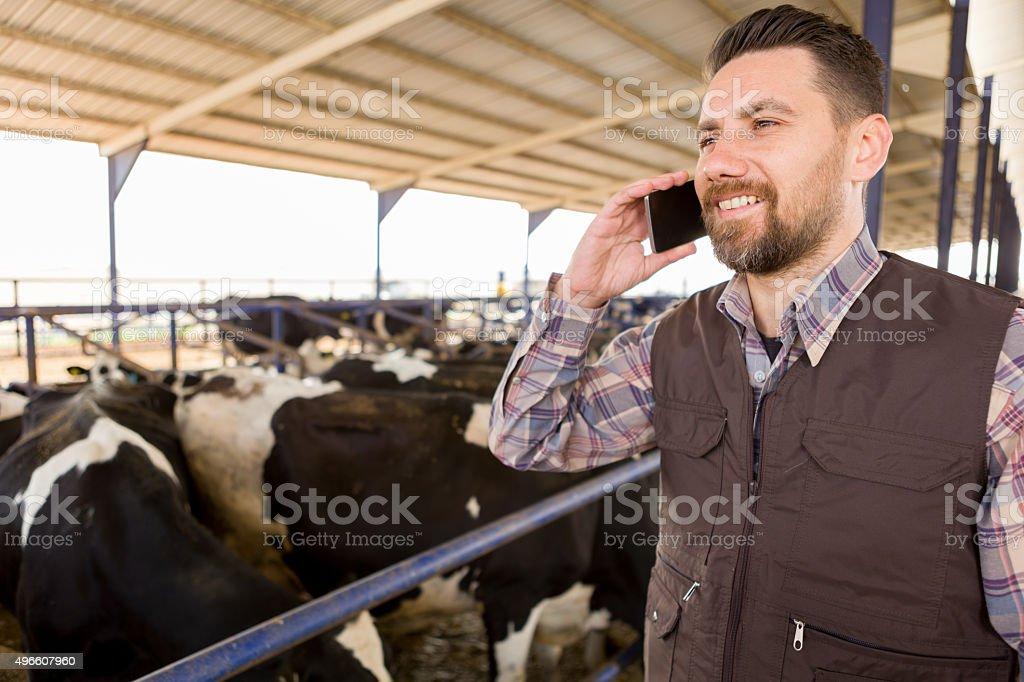 Cellphone Farmer stock photo