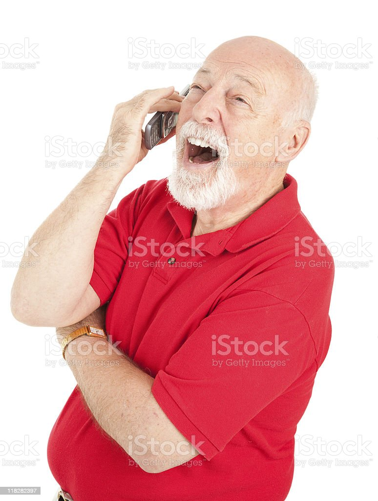 Cellphone Senior - Laughing royalty-free stock photo