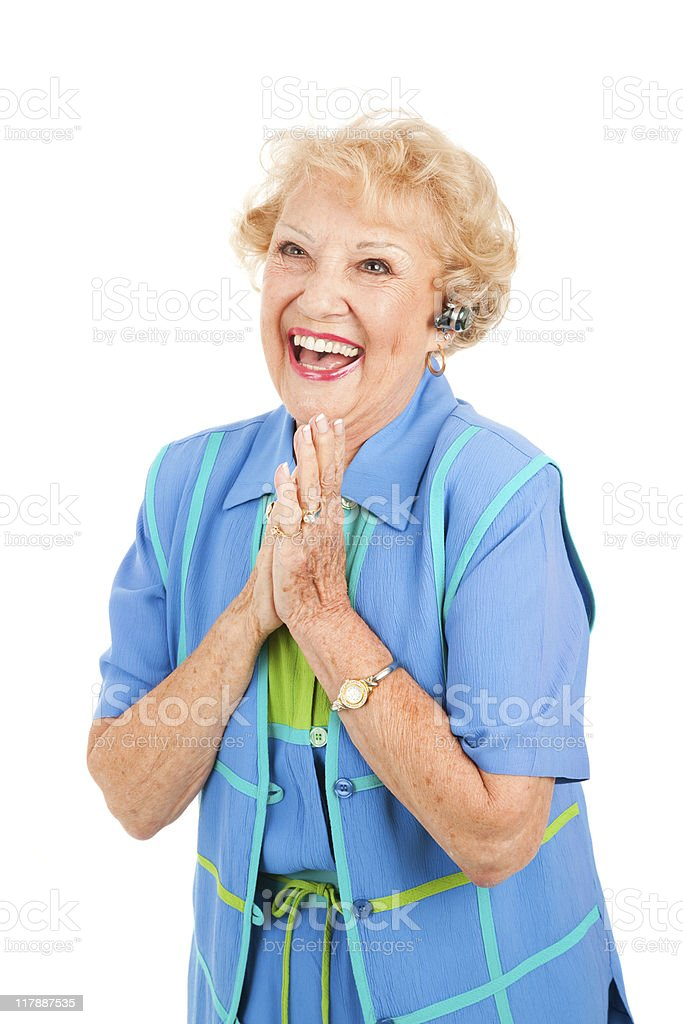 Cellphone Senior Woman - Excited royalty-free stock photo