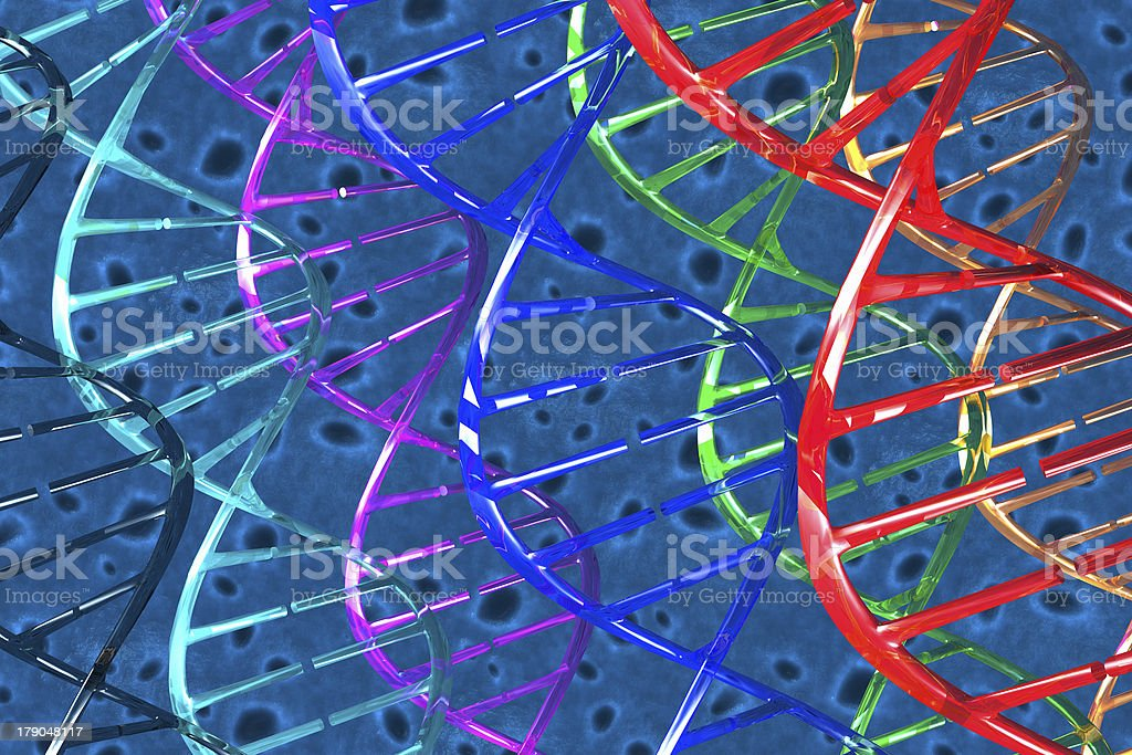 Cells and DNAs 3D stock photo