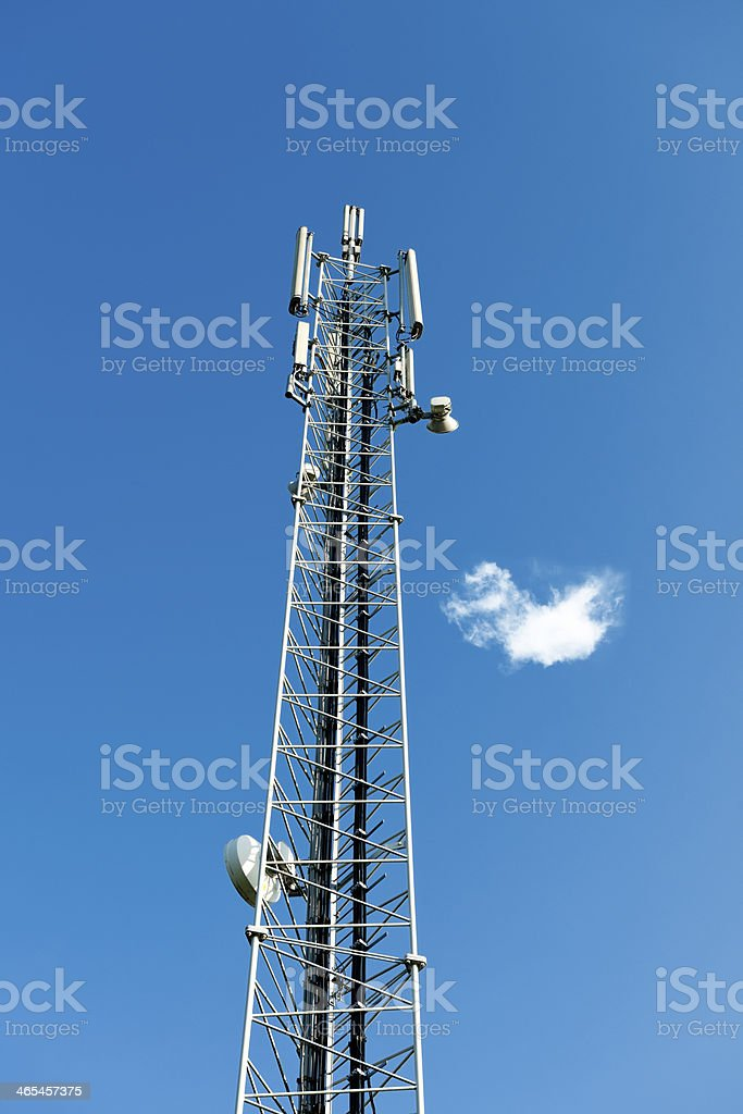 Cellular Antenna and links against deep blue sky with  cloud stock photo