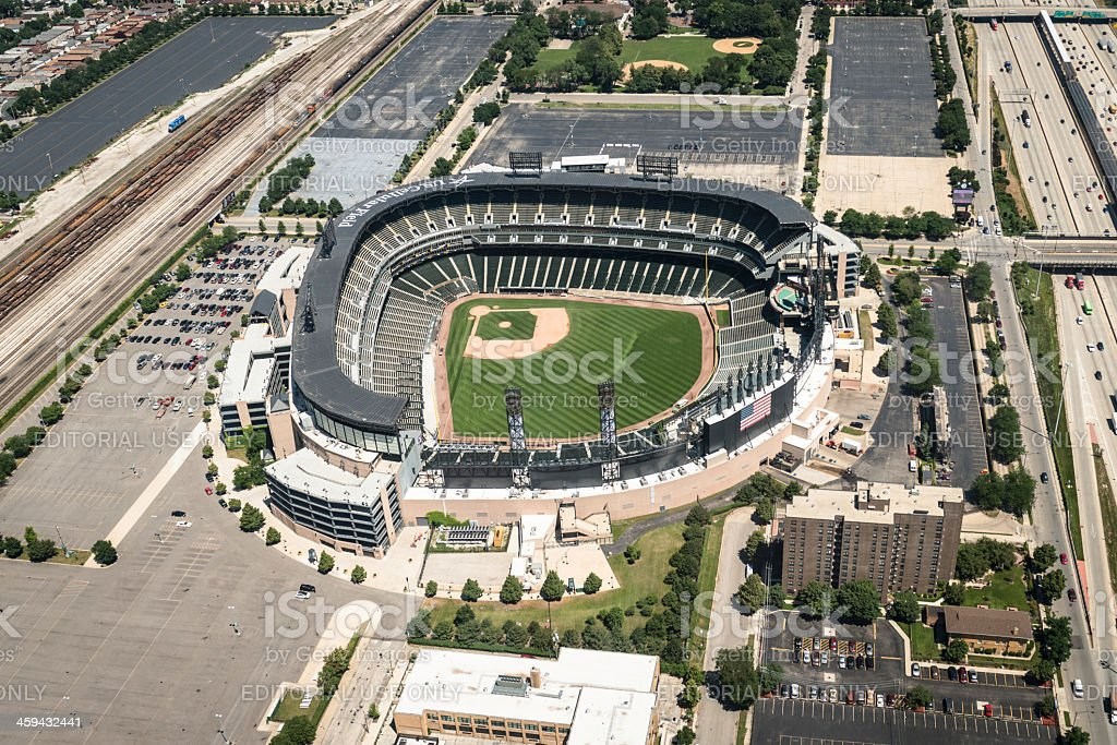 U.S Cellular Field stadium aerial view in chicago stock photo