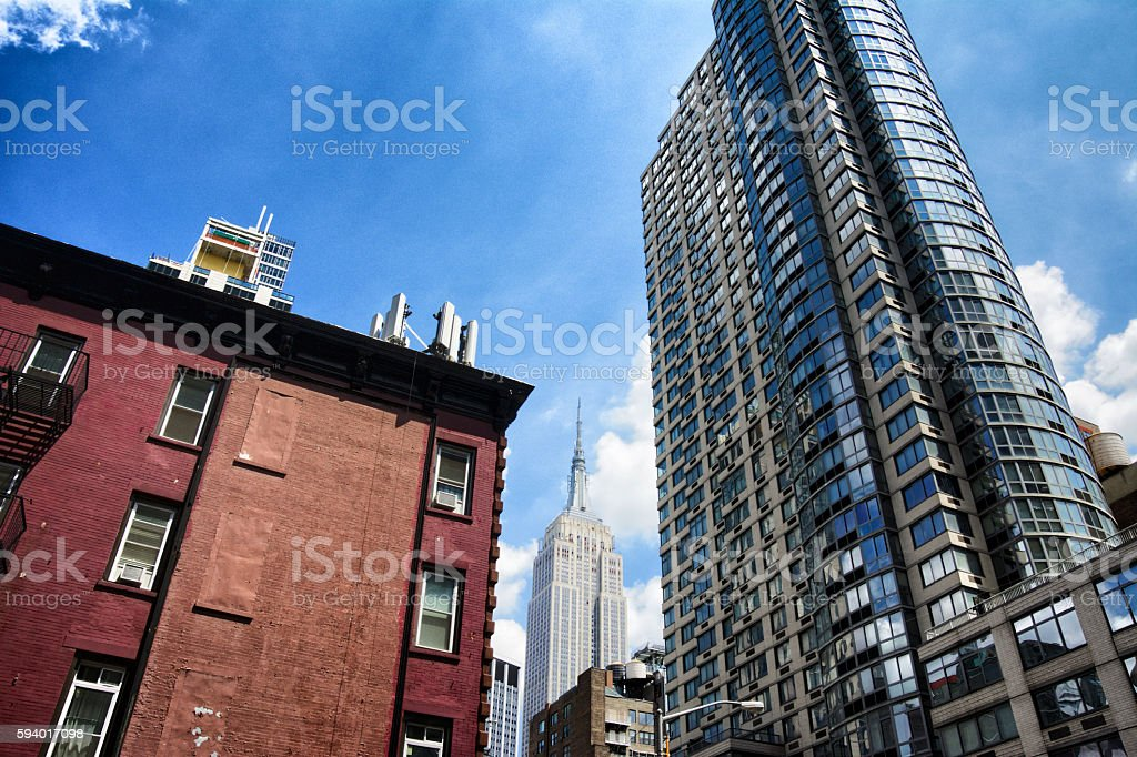 Cellular Phone Antennas, Empire State Building Cityscape, Midtown Manhattan, NYC stock photo