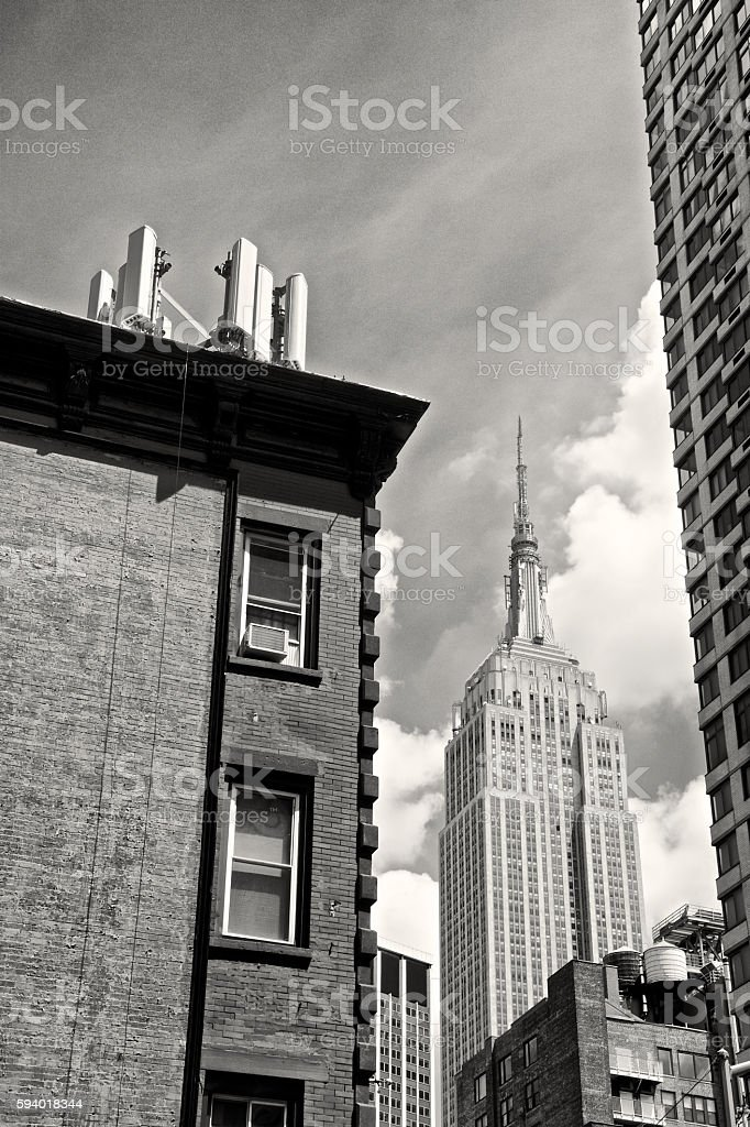 Cellular Phone Antennas, Empire State Building Cityscape, Midtown Manhattan, NYC stock photo