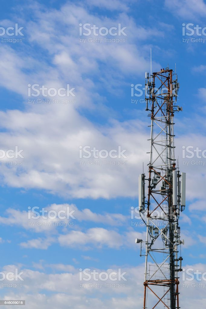 cellular repeter tower for 2g, 3g, 4g and 5g transmision - GSM stock photo