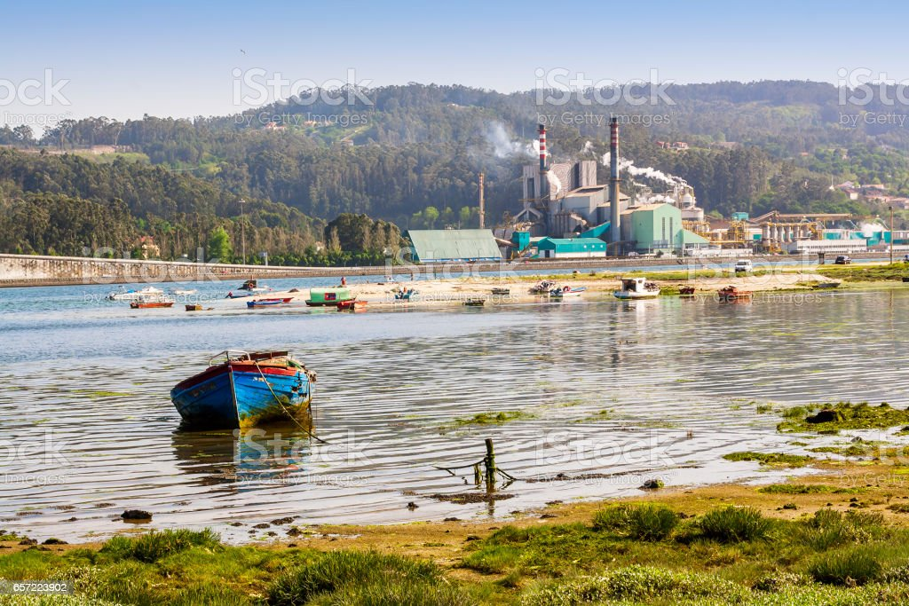 Cellulose pulp industry in Pontevedra estuary stock photo