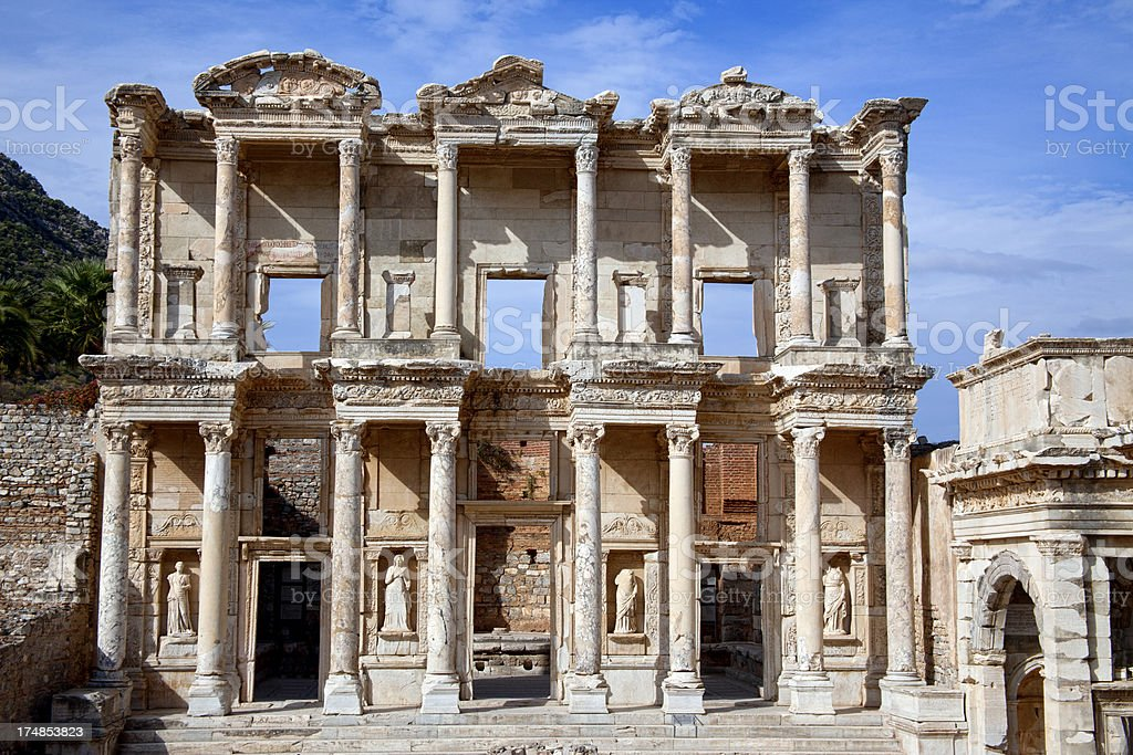 Celsius Library in Ephesus, Turkey royalty-free stock photo