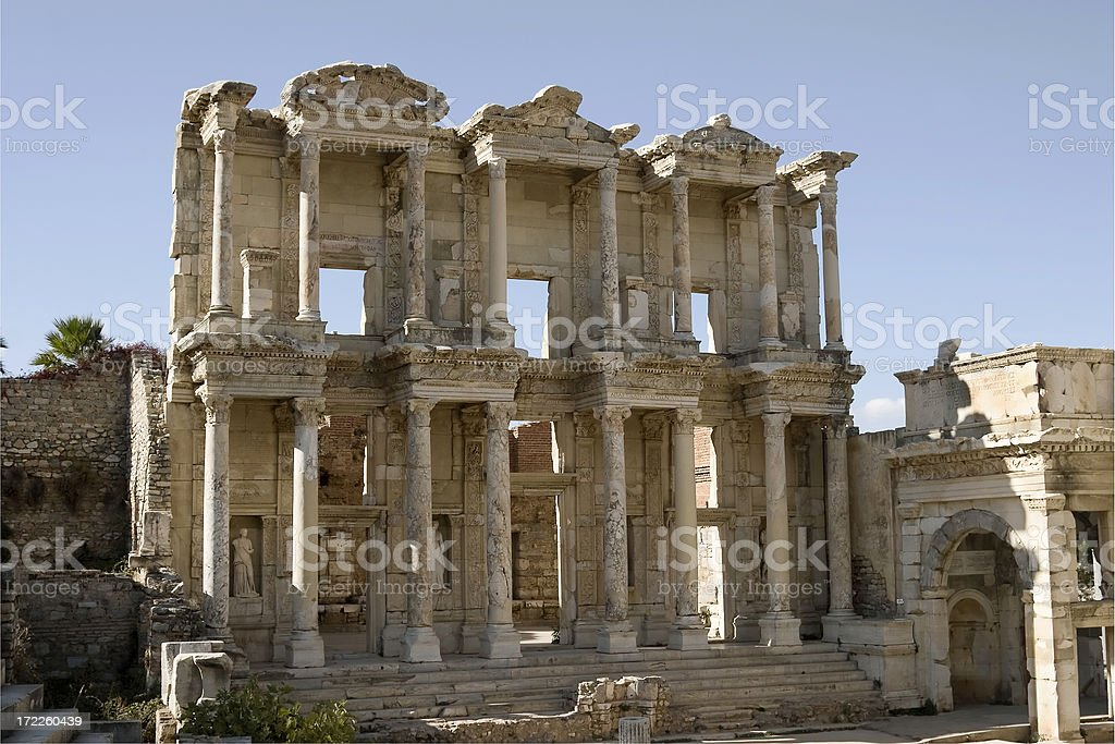 Celsus Library, Ephesus, Turkey royalty-free stock photo