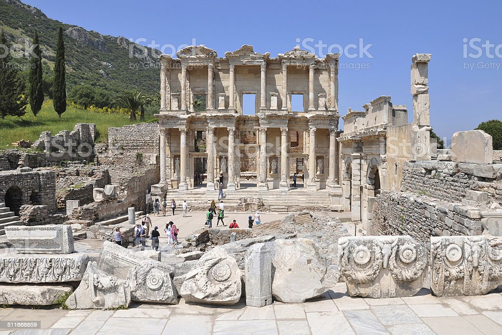 Celsus Library in Ephesus stock photo