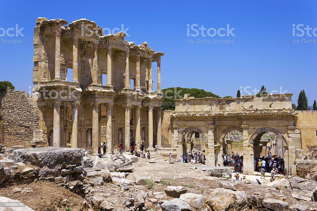Celsus Library in Ephesus, Turkey stock photo