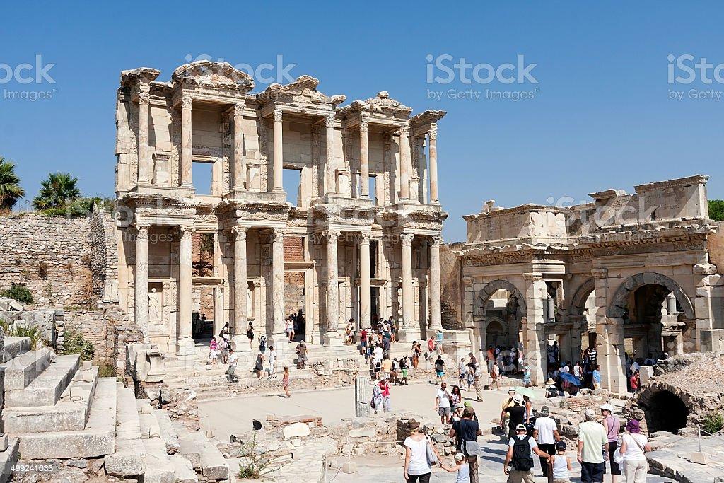 Celsus-Bibliothek in Ephesus, Türkei Lizenzfreies stock-foto