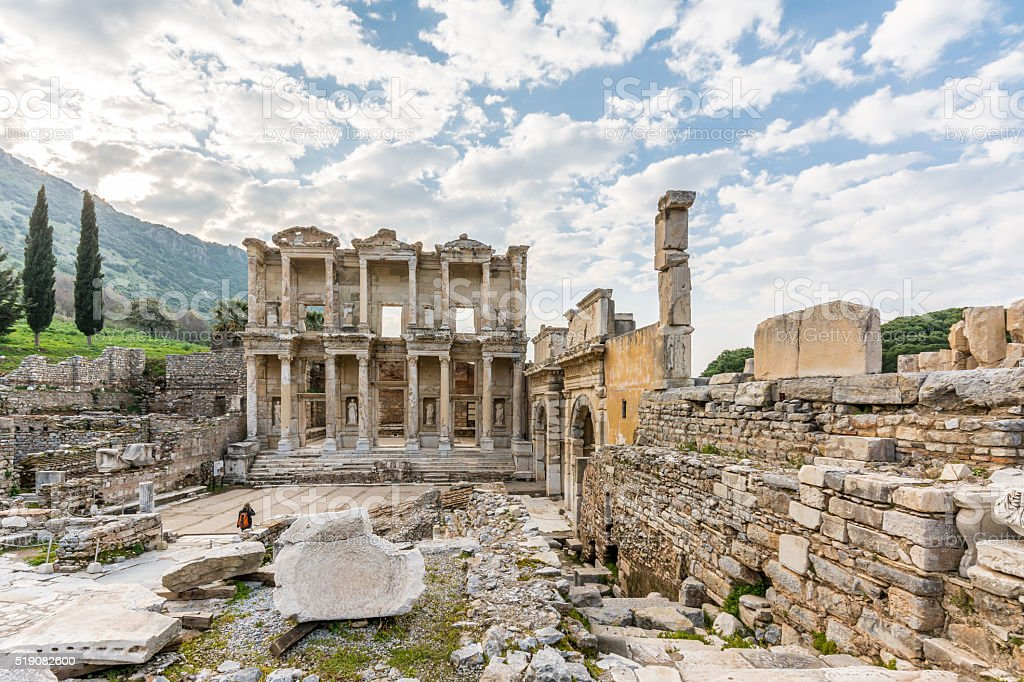 Celsus Library ( Celcius Library) of Ephesus Ancient City stock photo