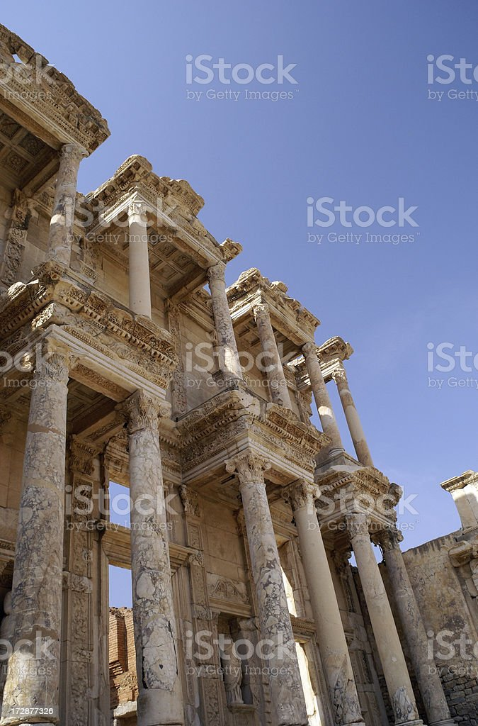 Celsus Library Ruins in Ephesus Turkey royalty-free stock photo