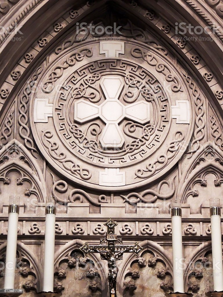 Celtic Art in Saint Patrick's Church of NEw York City stock photo