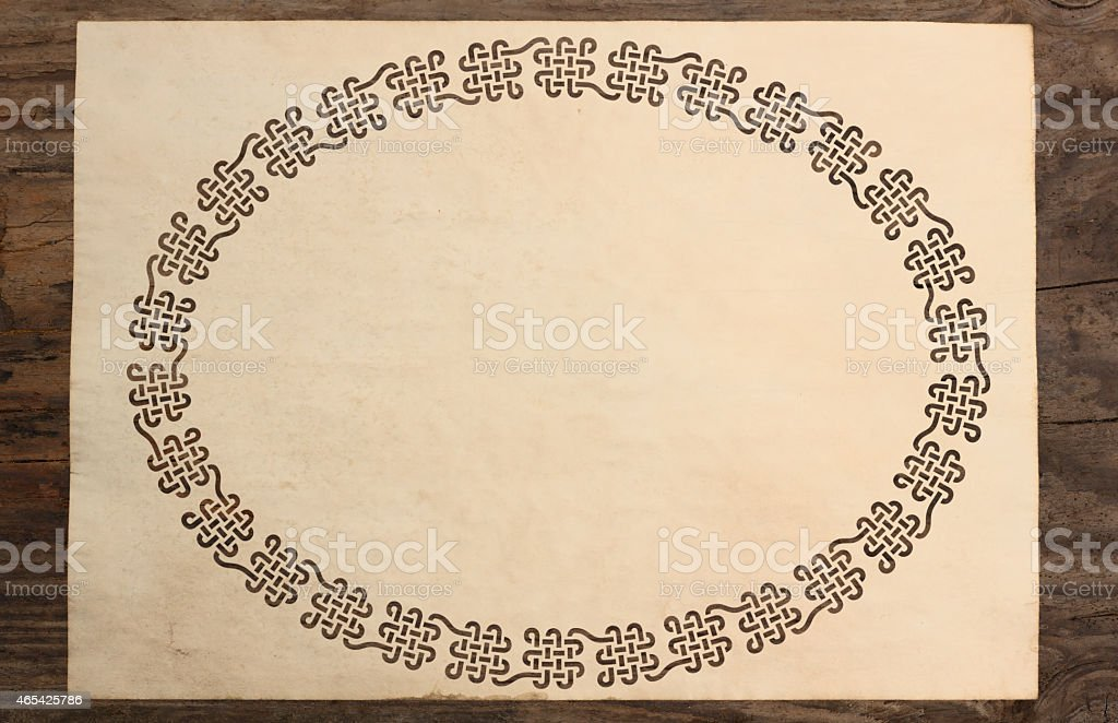 celtic border parchment paper cut knotwork background stock photo