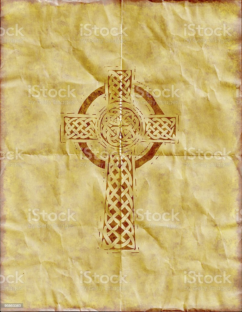 Celtic / Christian cross on parchment paper royalty-free stock photo